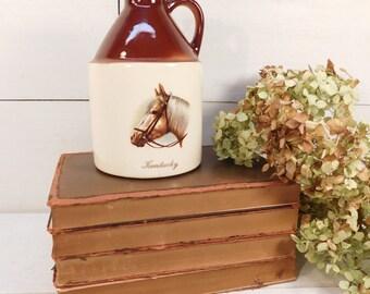 Vacation *** SHIPPING DELAY *** Vintage Stoneware Miniature Kentucky Whiskey Jug, Western Decor, Equestrian, Farmhouse Chic