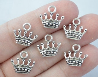 10 Pcs Crown Charms Royal Charms Queen Charms Antique Silver Tone 2 Sided 14x11mm - YD0190