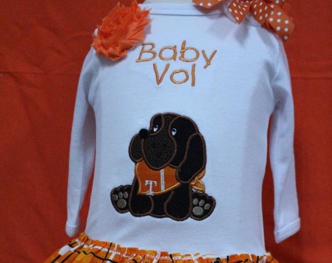 Tennessee Volunteer baby girl bodysuit, Tennessee baby girl bodysuit with skirt, Personalized  girl shirt, Orange and white Volunteer outfit
