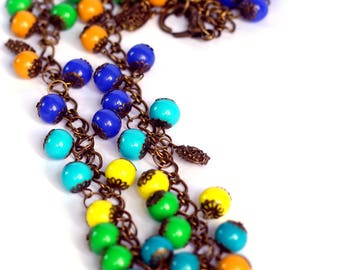 Colorful beads necklace, Summer necklace, Long necklace, Handmade beaded necklace, Boho necklace, Unique handmade gift, Multicolored jewelry