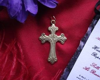 PE-0043 - 1-1/4 inch Vintage Scroll Cross - Rosary Cross - Living history Cross - Regency Cross - Georgian Cross