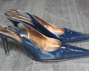 Vintage Dolce & Gabbana Blue Pointed Toe Sling Back Heels with Buckle