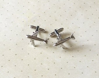 Air Plane Airplane Pilot Cufflinks Cuff Links in Silver