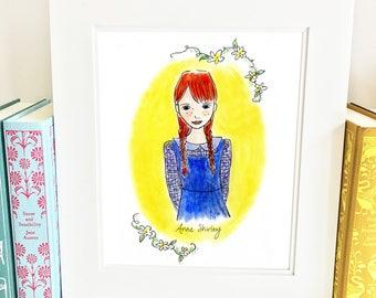 Anne of Green Gables Print - illustrated - girls room decor - yellow - HA1