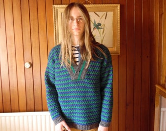 Vintage jumper / sweater, Benetton, 1980's Grandad jumper, pure wool, shawl collar, blue green and grey