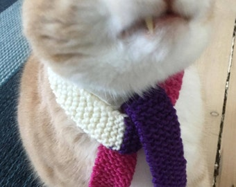 Scarf for cat or small dog, pink scarf for pet, purple scarf for pet, knitted pet scarf, pet neck-wear, pet accessories, pet clothing, pets