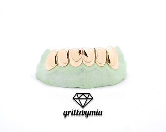 Custom 6/8 Piece 14k Plated Gold Grillz DEEP CUTS Silver Top OR Bottom Slugz Grillz Grill Perm Style