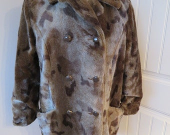 FAUX FUR SEAL Coat, Vintage Lou Ritchie of Montreal, Lined, Size Small/Medium (#827)