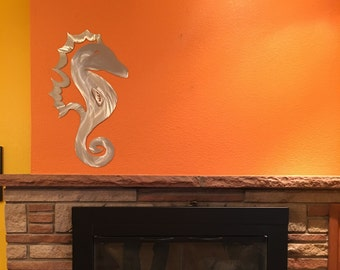 Seahorse, Coastal wall decor, Aloha, Blue ocean decor, Ocean art home decor, Tropical wall decal, Coastal wall art, Sea Life, Beach cottage