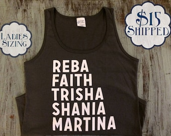 90's Country Queens Tank - Reba, Faith, Trisha, Shania, Martina