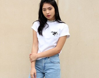 bee mine Embroidered White valentine t-shirt