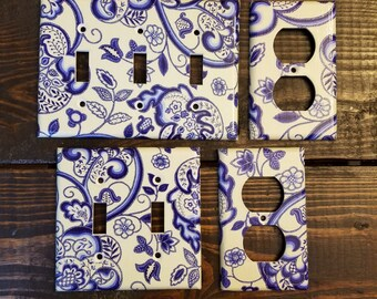 Jacobean Light Switch And Other Style Covers | Blue And White - Jacobean Floral - Jacobean Decor - Home Accents - Wall Art - Jacobean Fabric