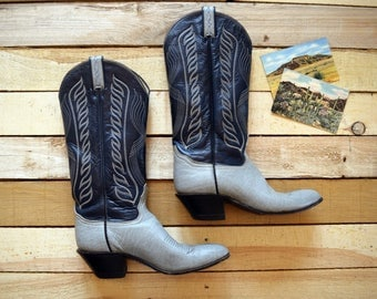 70s Vintage Women's 7 1/2 TONY LAMA Cowboy Boots Navy Blue and Gray Leather Tall Cowgirl Western