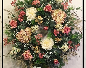Elegant Wreath, Front Door Wreaths, Everyday Home Decor Wreath, Spring Door Wreaths, Victorian Floral Wreath, Summer Wreath, Cottage Wreath