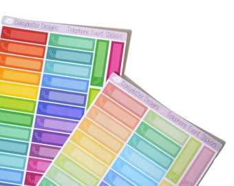 36 Telephone Event Planner Stickers by Daisyduster Designs. Call, Mobile, Phone, Meeting, Bill.