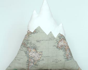 Mountain pillow with map and soft mountain