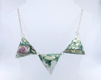 Triple Triangle Necklace – Pink and Green Tropical Print - Handmade - Geometric - Silver Plated