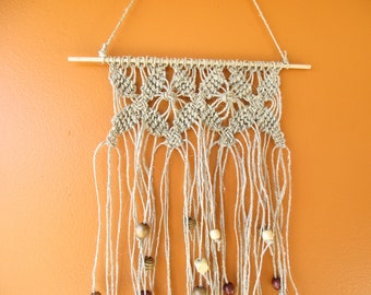 "Handmade Macrame Wall Hanging - Wall Decor - Hemp Cord and Wooden Beads on a Wooden Dowel 12"" X 28"""