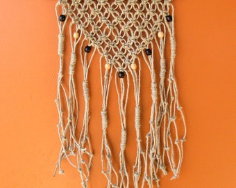 "Handmade Macrame Wall Hanging - Wall Decor - Hemp Cord and Wooden Beads on a Wooden Dowel 15"" X 26"""