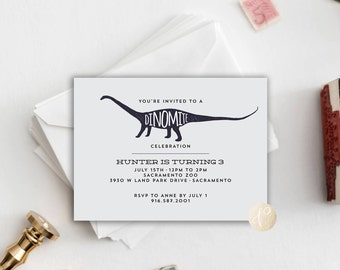 Printable Kid's Birthday Party Invitation || Dinosaurs, Dino-mite, Boy