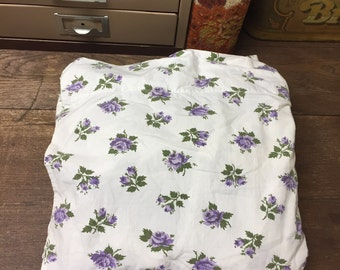 Vintage Sheet Flat Full/Double Percale Purple Floral Fashion Manor