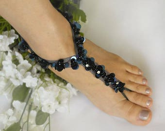 Wedding Barefoot Sandals, Navy Sequins Bridal Foot Jewelry,Footless Sandal,Bridesmaid Foot Jewelry -SD038