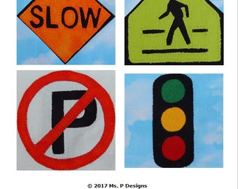 Road sign set #4 PDF quilt block pattern; traffic sign downloadable quilt pattern; paper pieced and applique teenager quilt pattern