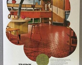 1968 Armstrong Print Ad - Coronelle Vinyl Corlon Flooring - 60s Styles - Kitchen