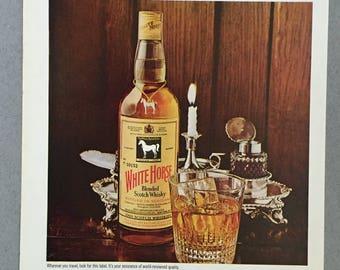 1970 Lot of 2 White Horse Scotch Print Ads