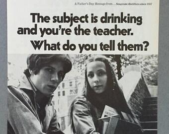 1970 Seagram Distillers Print Ad - Teenage Drinking