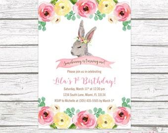 Bunny Birthday Invitation, Woodland Birthday Invitation, Somebunny is Turning One Invite, Easter Birthday Invitation Girl, Printable
