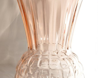 Vintage Anchor Hocking Pink Depression Glass Pineapple Vase - 1930's