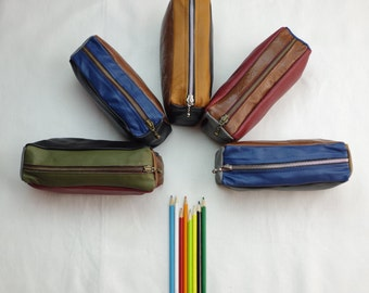 Patchwork Genuine Leather Pencil Case/Pouch/Leather bag/Amenity Bag