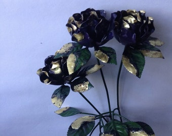 Roses, metal art, set of three your choice of color,