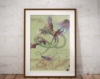 Medium - Quetzalcoatl - Aztec Mythology Art Print