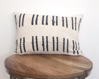 """14x20"""" Lumbar White Mudcloth Pillow"""