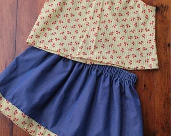 Yellow Floral Top & Skirt Set