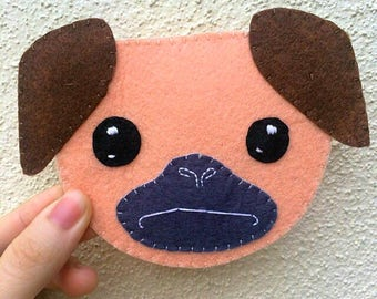 Cute Felt Pug Mug Coaster