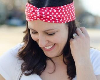 Turban Twist Headband - Gift for Her - Red Polka Dot Headband - Twisted Headband for Women - Cute Headband for Girls - Fabric Headband