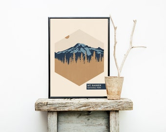 Hiking Travel Poster Vintage - Washington - National Park Poster - Mt. Rainier National Park  - Romantic Wall Art – Posters – Wall Hanging