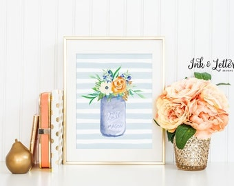 Mason Jar Print - Watercolor Flower Print - Spring Wall Decor - Floral Decor - Spring Wall Art - Instant Download - Digital Printable - 8x10