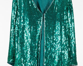 Gorgeous green vintage sequin jacket