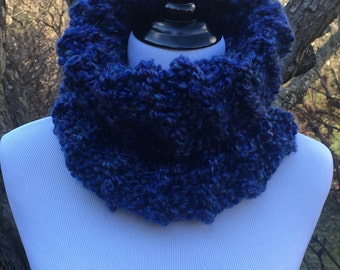 Blue Knit Cowl, Blue Infinity Scarf, Handmade Cowl, Hand Knit Cowl, Homespun Thick and Quick, Blue Scarf, Chunky Cowl, Soft Cowl