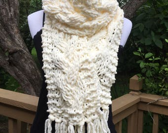 White Knit Scarf, Cable Knit Scarf, Handmade Scarf, Vintage White Scarf, Chunky Scarf, Winter Accessory, Bernat Blanket Yarn
