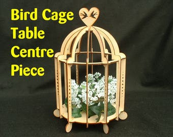 Laser Cut Wood Bird Cage Table Centre Piece