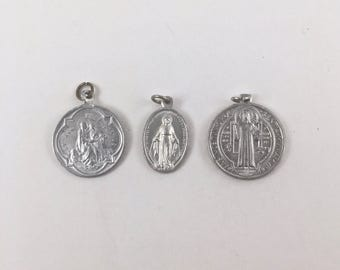 Religious Medals, St Ann,  Guardian Angel, Miraculous Medal, St Benedict, 3 Vintage Medals, Silver Tone Saint Metal, Religious Necklace