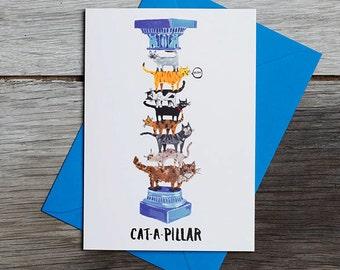 Cat A Pillar - Greetings Card - Cats - Humour - Pun - Cats