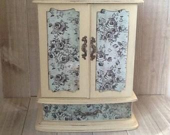 Large White Jewelry Box, Up Cycled/Refurbished Jewelry Box,  French Chic Jewelry Box,  Blue Rose  Decoupaged Jewelry Box