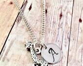 Giraffe necklace, personalized initial charm necklace, giraffe charm necklace,  little girl jewelry, giraffe char, zoo animals, Giraffe love