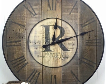 Industrial Wall Clock - Custom Industrial Style Wood Clock - Large Wood Clock- Reclaimed Wood Clock - Handmade Rustic Clock - Large Clock